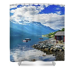 Shower Curtain featuring the photograph On The Beach Of Sorfjorden by Dmytro Korol