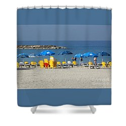 On The Beach-tel Aviv Shower Curtain