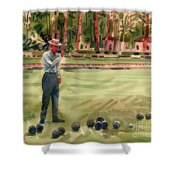 On The Bowling Green Shower Curtain by Donald Maier