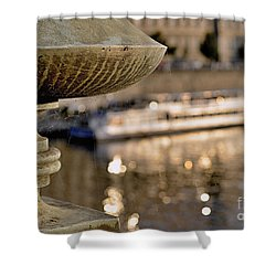 Shower Curtain featuring the digital art On The Bridge by Leo Symon