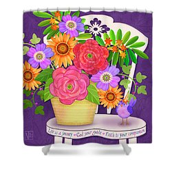 On The Bright Side - Flowers Of Faith Shower Curtain