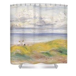 On The Cliffs Shower Curtain by Pierre Auguste Renoir