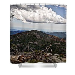 On The Climb Shower Curtain by Deborah Klubertanz