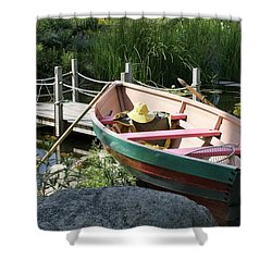 On The Dock Shower Curtain by Lois Lepisto