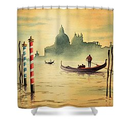 On The Grand Canal Venice Italy Shower Curtain by Bill Holkham