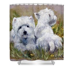 On The Lawn Shower Curtain by Mary Sparrow
