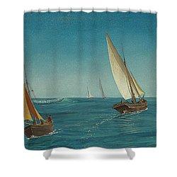 On The Mediterranean  Shower Curtain by Albert Bierstadt