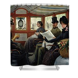 On The Omnibus Shower Curtain by Maurice Delondre