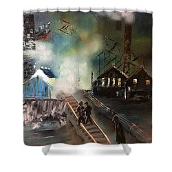 Shower Curtain featuring the painting On The Pennsylvania Tracks by Denise Tomasura