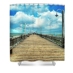 On The Pier At Tybee Shower Curtain by Tammy Wetzel