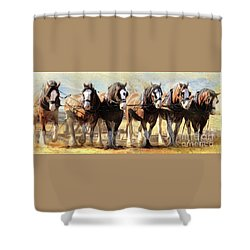 On The Plough Shower Curtain by Trudi Simmonds