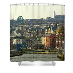 On The River Lee, Cork Ireland Shower Curtain by Marie Leslie