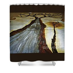 On The Road Of The Tree Of Life Shower Curtain by Talisa Hartley