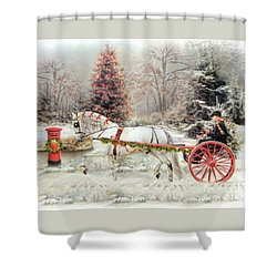 On The Road To Christmas Shower Curtain by Trudi Simmonds