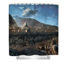 Shower Curtain featuring the painting On The Road To Meereen by Mario Carini