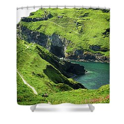 Shower Curtain featuring the photograph On The Road To Tintagel by Connie Handscomb