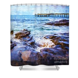 Shower Curtain featuring the photograph On The Rocks by Perry Webster