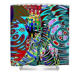 On The Same Wavelength Shower Curtain by Navo Art