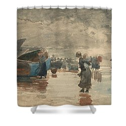 On The Sands Shower Curtain by Winslow Homer