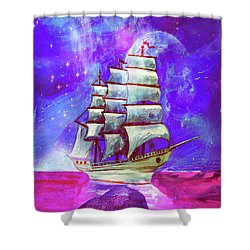 On The Sea At Sunset Shower Curtain