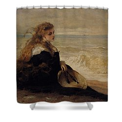 On The Seashore Shower Curtain by George Elgar Hicks