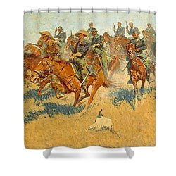 Shower Curtain featuring the photograph On The Southern Plains Frederic Remington by John Stephens