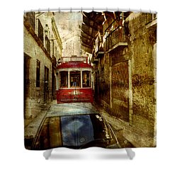 Shower Curtain featuring the photograph On The Streets Of Lisbon by Dariusz Gudowicz