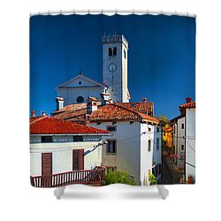 On The Tiles Shower Curtain by Graham Hawcroft pixsellpix