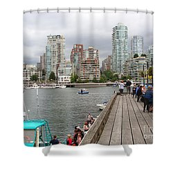 On The Water At False Creek Vancouver Shower Curtain by Rod Jellison