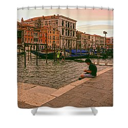 Shower Curtain featuring the photograph On The Waterfront by Anne Kotan