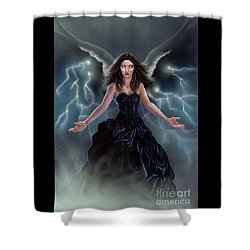 Shower Curtain featuring the painting On The Wings Of The Storm by Amyla Silverflame