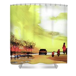 Shower Curtain featuring the painting On Vacation by Anil Nene