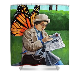 On Vacation -butterfly Angel Painting Shower Curtain