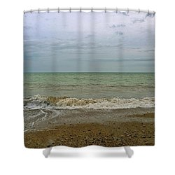 Shower Curtain featuring the photograph On Weymouth Beach by Anne Kotan