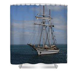 Shower Curtain featuring the photograph Approaching Kingscote Jetty by Stephen Mitchell