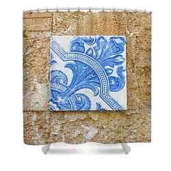One Blue Vintage Tile  Shower Curtain