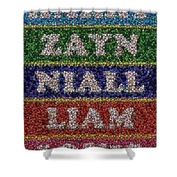 One Direction Names Bottle Cap Mosaic Shower Curtain by Paul Van Scott