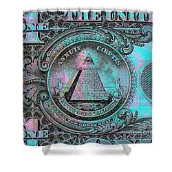 Shower Curtain featuring the digital art One-dollar-bill - $1 - Reverse Side by Jean luc Comperat