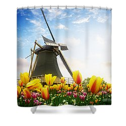 One Dutch Windmill Over  Tulips Shower Curtain