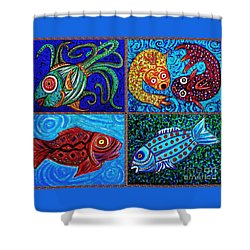 One Fish Two Fish Shower Curtain by Sarah Loft