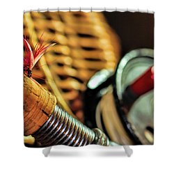 One Fly One Rod One Creel Shower Curtain by Pat Cook