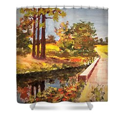 One Lane Bridge Shower Curtain by Jim Phillips