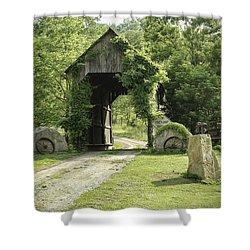 One Lane Covered Bridge Shower Curtain