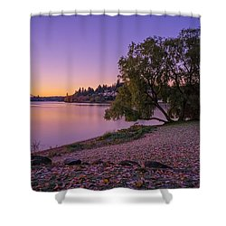 One Morning At The Lake Shower Curtain by Ken Stanback