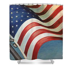 Shower Curtain featuring the mixed media One Nation Under God by Lisa DuBois