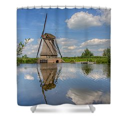 One Of The Kinderdijk Windmills In Holland Shower Curtain