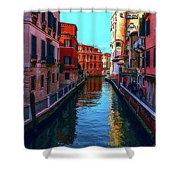 one of the many beautiful old Venetian canals on a Sunny summer day Shower Curtain