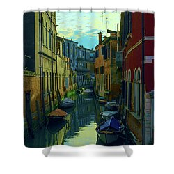 one of the many Venetian canals at the end of a Sunny summer day Shower Curtain