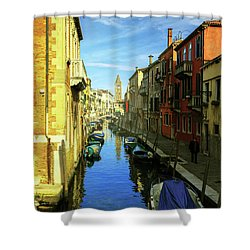 one of the many Venetian canals on a Sunny summer day Shower Curtain