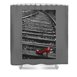 Shower Curtain featuring the photograph One Red Shoe by Patrice Zinck